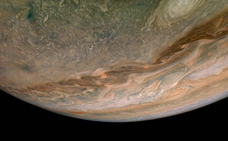 """NASA's Juno spacecraft captures swirling clouds in the region of the giant planet's northern hemisphere known as """"Jet N4."""""""