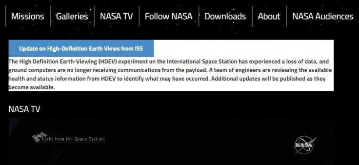 NASA TV outage