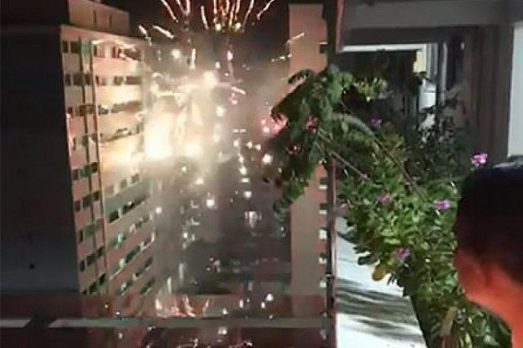video shows fireworks being launched