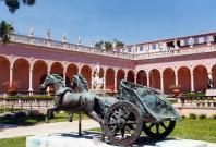This bronze reproduction of a sculpture of a Roman chariot is a feature of the courtyard, inside the main buildings of the John and Mable Ringling Museum in Sarasota, Florida.