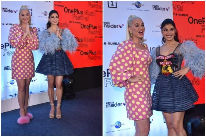 Katy Perry with Jacqueline Fernandez in Mumbai, India