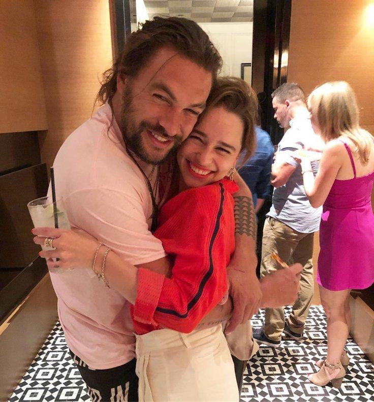 Emilia Clarke with Jason Momoa