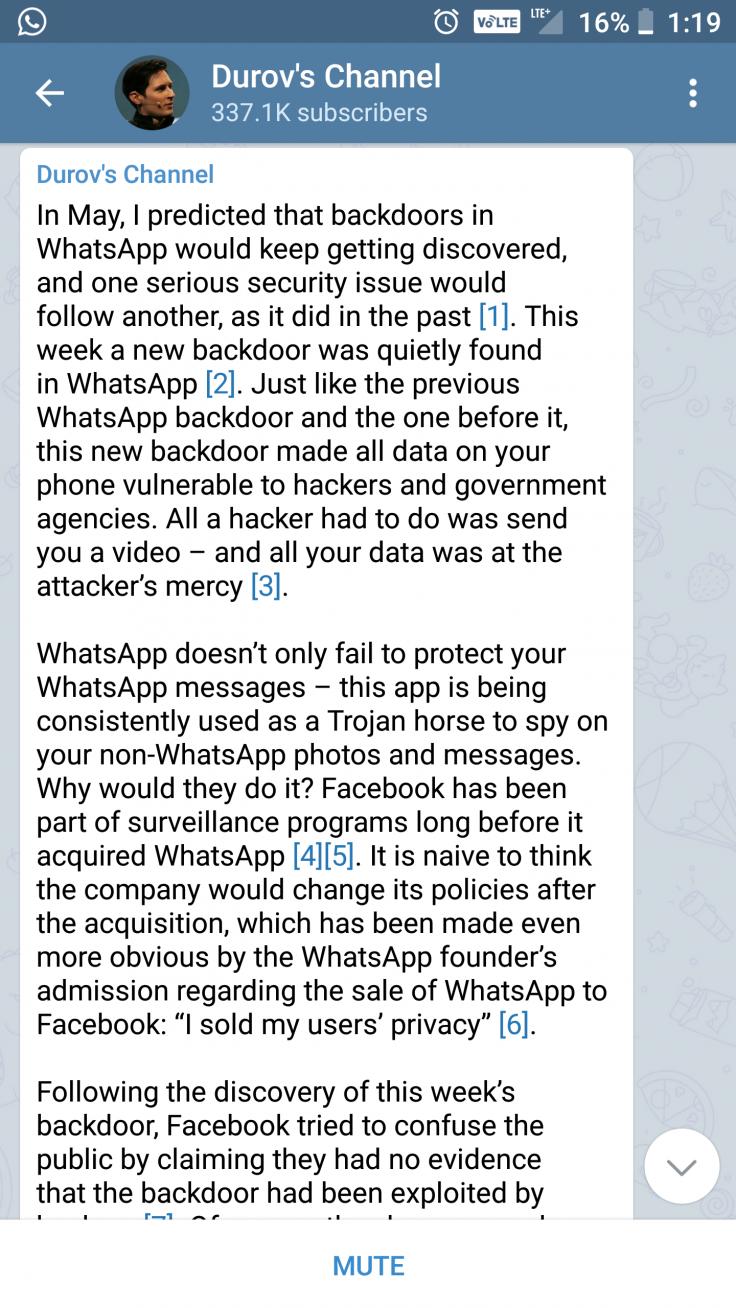 Pavel Durov Telegram channel