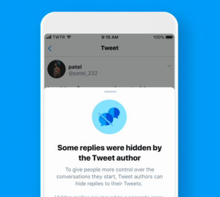 Twitter users can now hide replies.