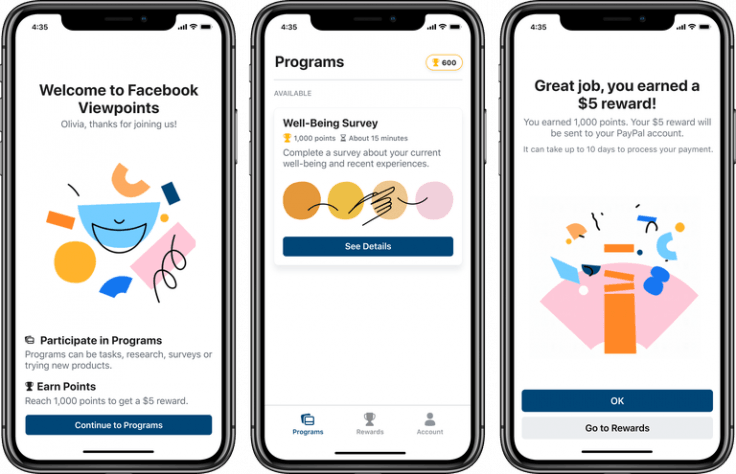 Facebook Viewpoints app rewards users