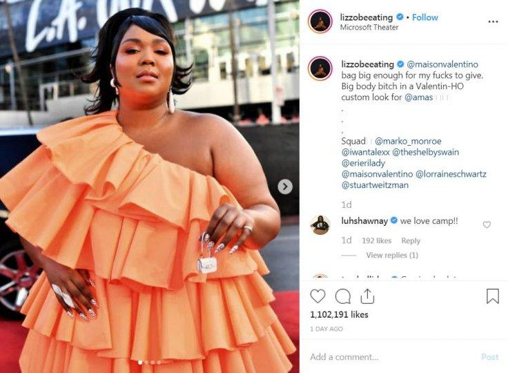 Lizzo Tiny wrote about the dress and her 'now famous' tiny bag on Instagram