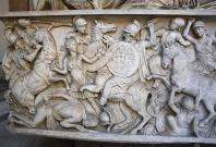 Fight between Greek warriors and Amazons
