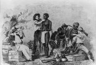 A slave trader inspects a black slave