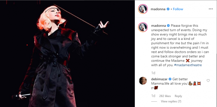 Madonna's post apologising fans on Instagram account