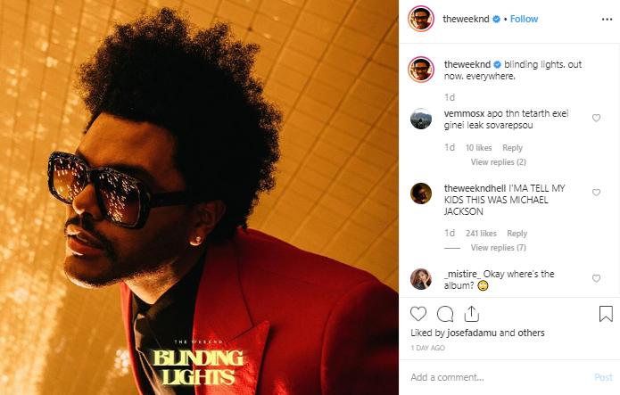 Weeknd post on Instagram
