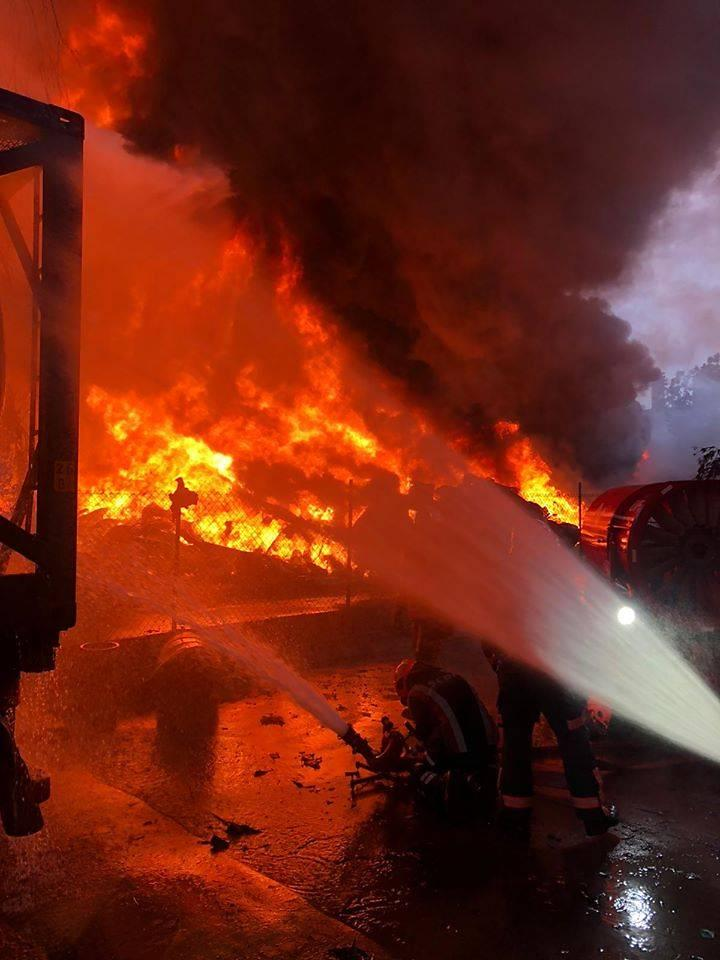 Firefighters fought the blaze with eight water jets.