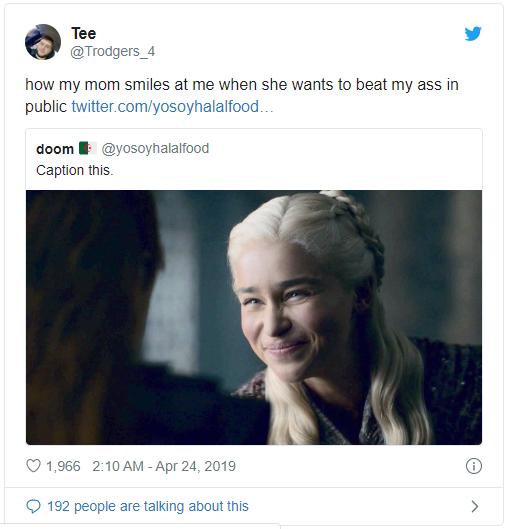 Daenerys Targaryen fake smile