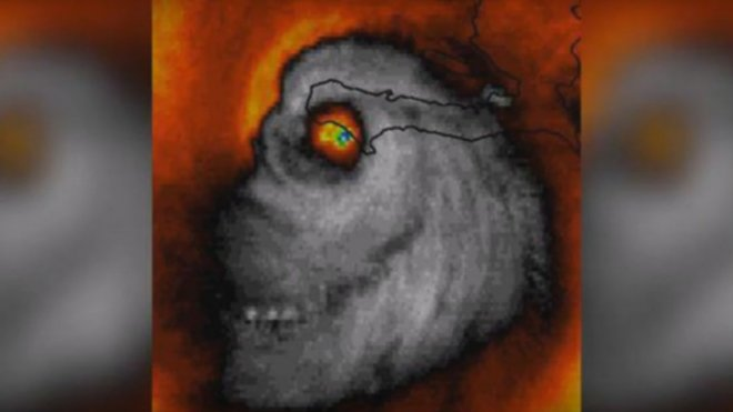Spooky skull image of Hurricane Matthew goes viral, shock meteorologists