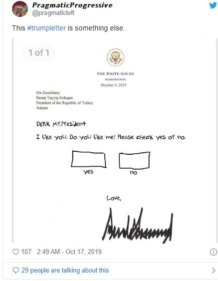 donald trump letter