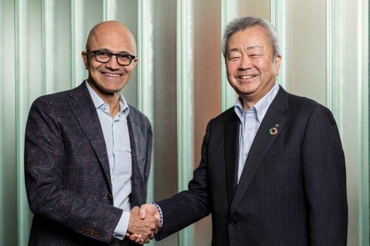 Microsoft CEO Satya Nadella (left), and Jun Sawada, President and CEO of NTT Corporation