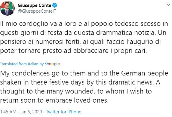 Italian PM's tweet