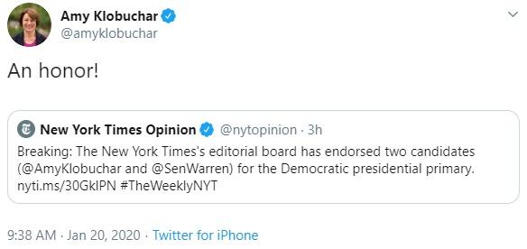 Amy Klobuchar's tweet