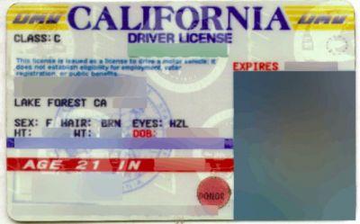 California USA Drivers Licenses, including organ donor status