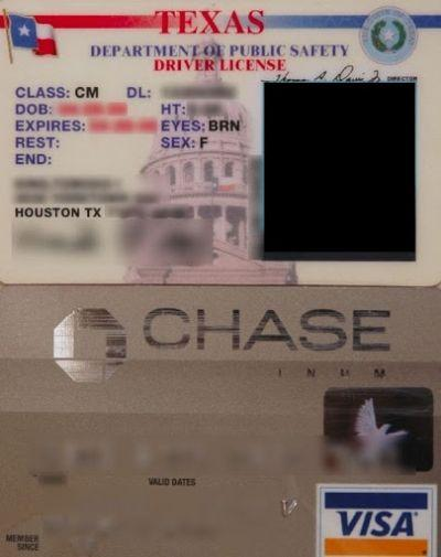 Texas Drivers License Chase Bank-issued Visa Card