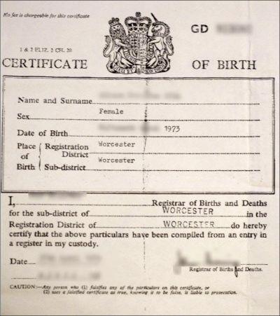 Birth certificate of a British citizen