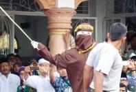 A caning sentence being carried out in Banda Aceh,