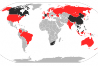 A map of the infected countries of the epidemic of SARS between 2002-11-01 and 2003-08-07.