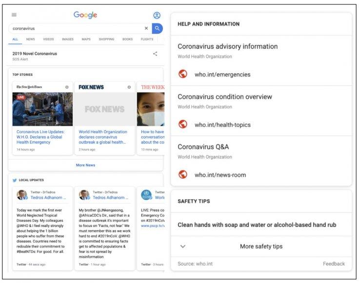 Google Coronavirus SOS page