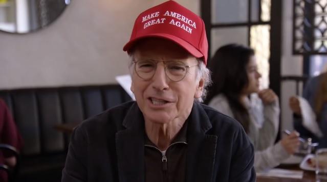 Larry David in MAGA hat