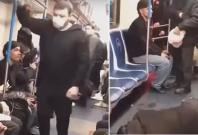 Russian prankster scares people inside train