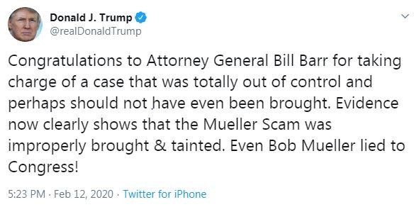 Trump tweet on William Barr