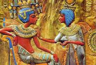 A detail from the throne of Tutankhamun which shows the pharaoh with his wife Ankhsenamun on the right