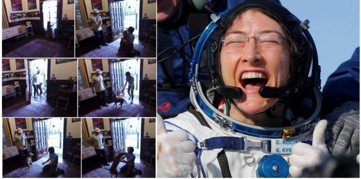 NASA astronaut Christina Koch meets her dog after a year