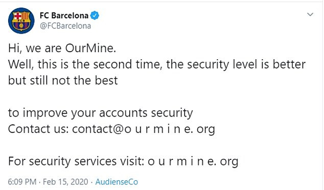 IOC Twitter accounts hacked by cyber group OurMine