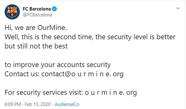 Barcelona Twitter account hacked