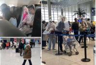 People spotted wrapping themselves in plastic covers