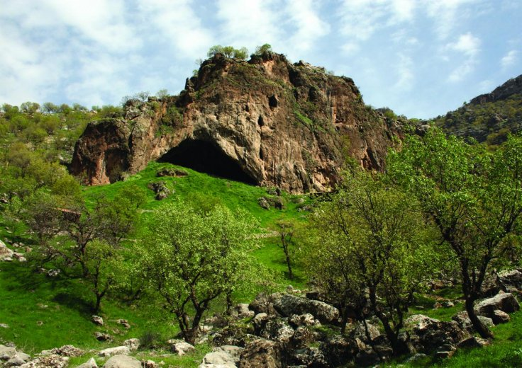 View of the entrance to Shanidar Cave, in the foothills of the Baradost Mountains of North-East Iraqi Kurdistan.