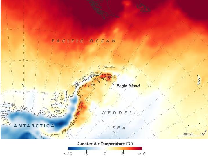 High temperatures are seen on the Antarctic Peninsula