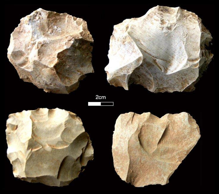 Stone tools found at the Dhaba site corresponding with the Toba volcanic super-eruption levels. Pictured here are diagnostic Middle Palaeolithic core types.