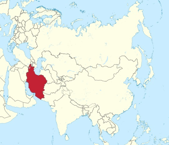 Iran on map of Asia