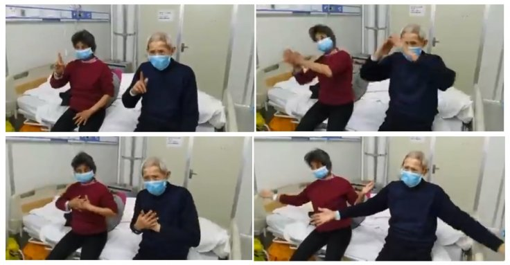 This old couple with hearing loss thanks Wuhan medics in a special way