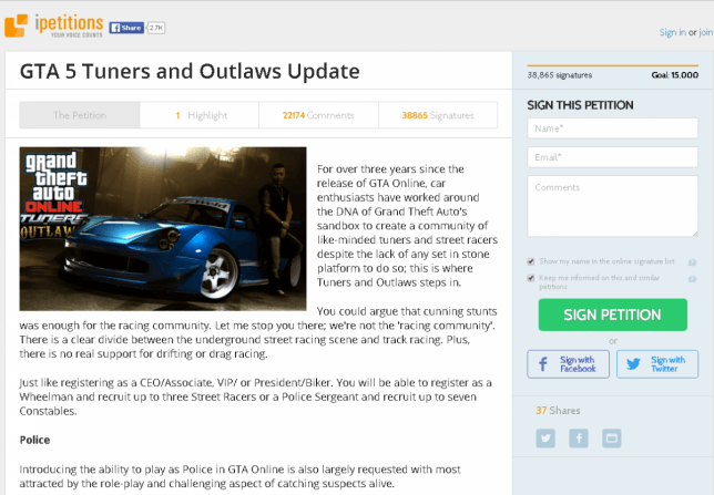 GTA 5 Tuners and Outlaws petition