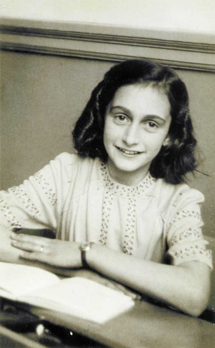 Anne Frank laughing at the school