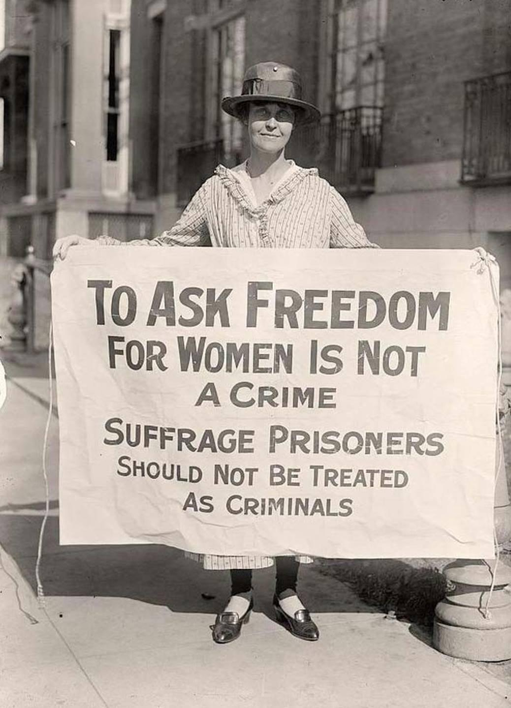 Mary Winsor (Pennsylvania), holding suffrage prisoners banner