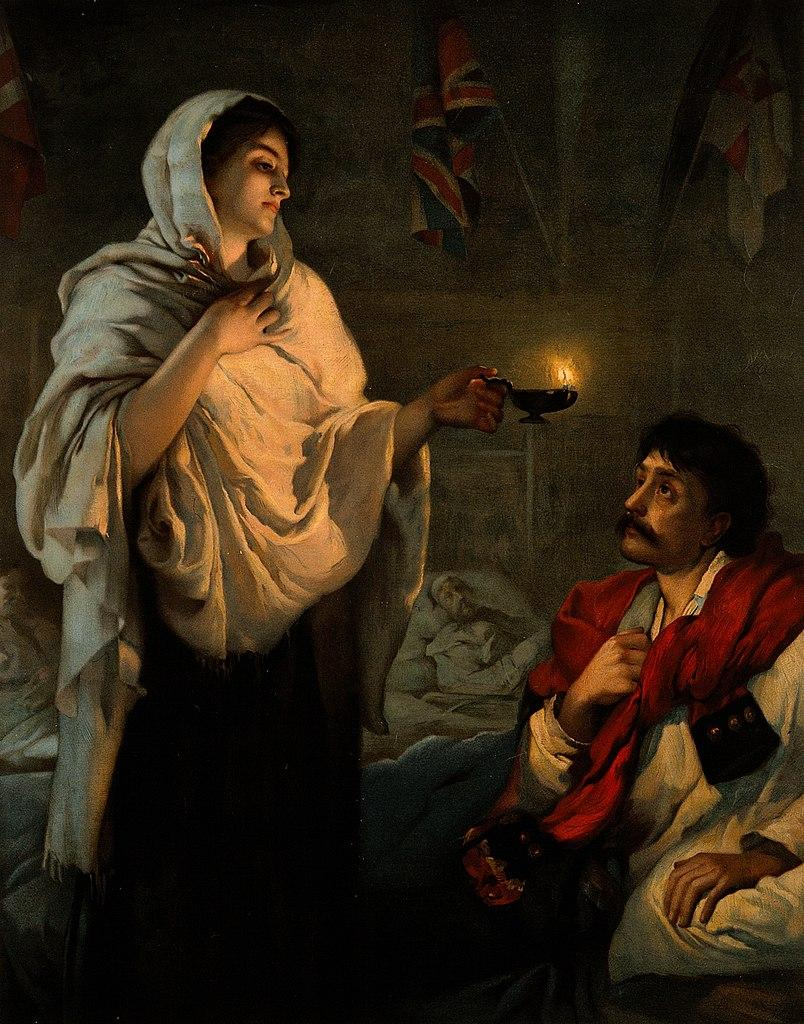 Crimean War: Florence Nightingale with her lamp at a patient's bedside.