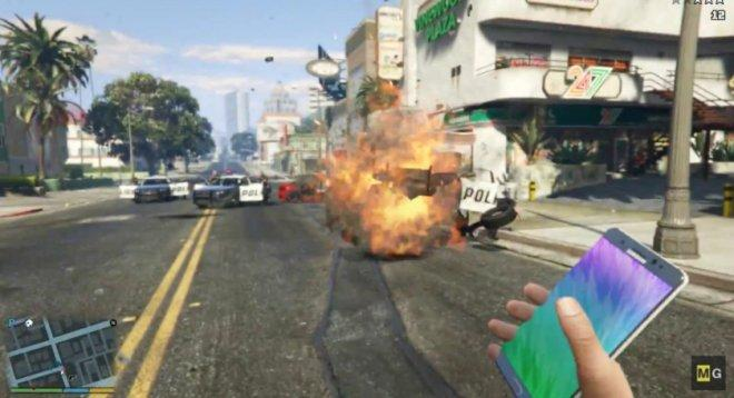 GTA 5 Mod video for exploding Galaxy Note 7