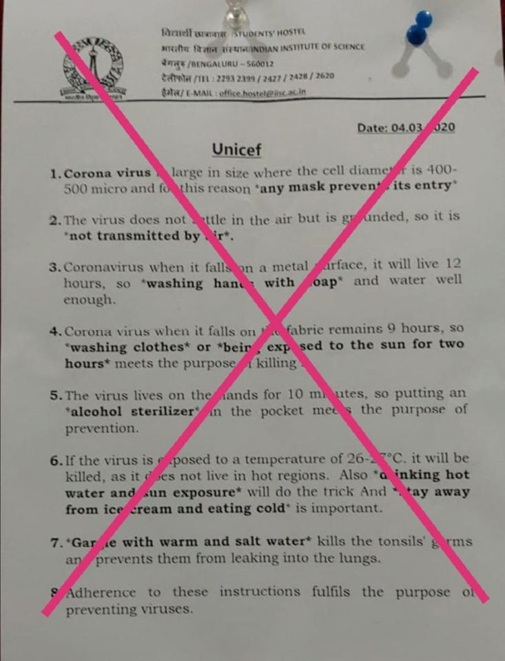 A fake notice on how to prevent coronavirus infection, citing the UNICEF