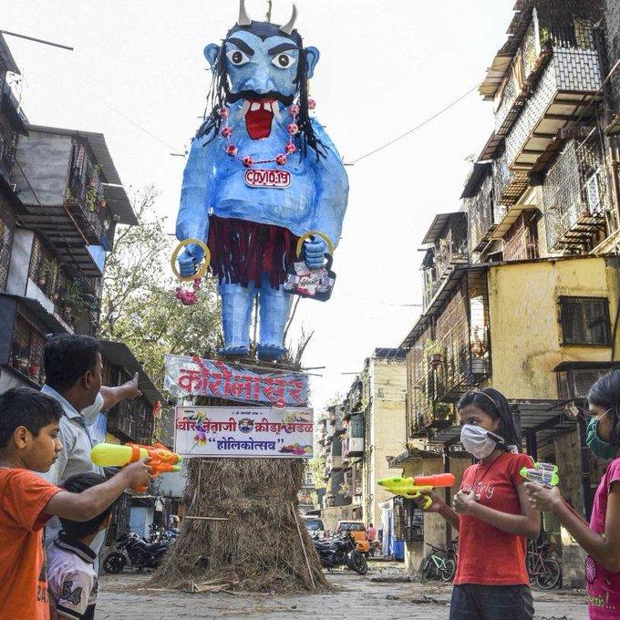 Coronasur: Indians burn effigy of coronavirus monster