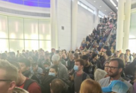 The crowd in Chicago O'Hare Airport