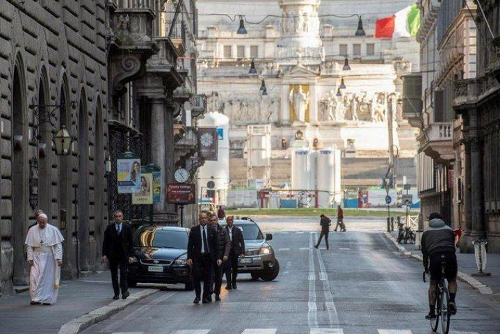 Pope walks