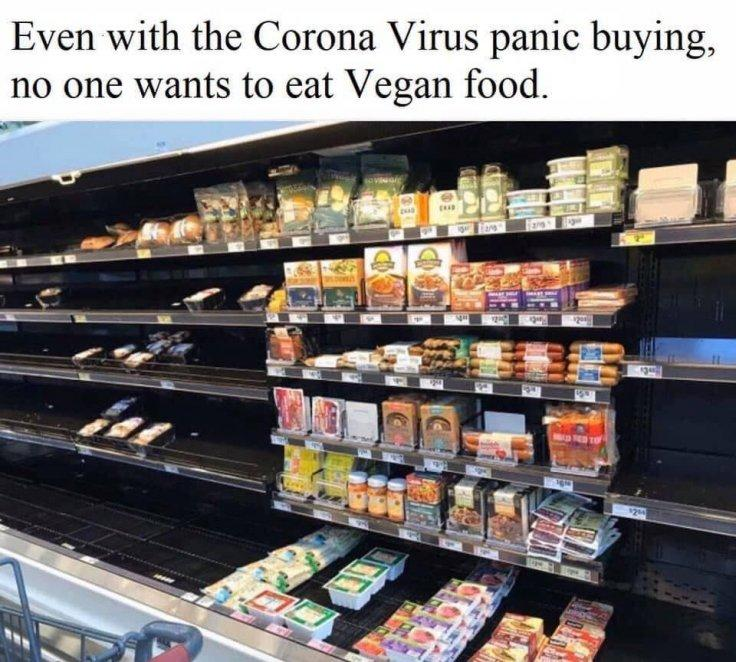 Fact check: Is this photo of an untouched vegan shelf in a supermarket related to Coronavirus panic buying?